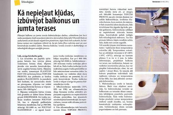 Raksts žurnālā BŪVINŽENIERIS - Kā nepieļaut kļūdas, izbūvējot balkonus un jumta terases!