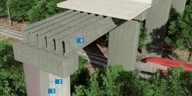 Tilta konstrukcija ar pilāriem un rūpnieciski ražotām sijām