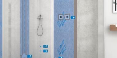 Hidroizolācijas sistēma mitrām telpām, izmantojot MAPEGUARD materiālu, ar tehnisko apstiprinājumu