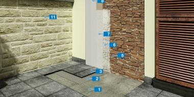Sistēma mitra mūra remontam ar virsmas apstrādi