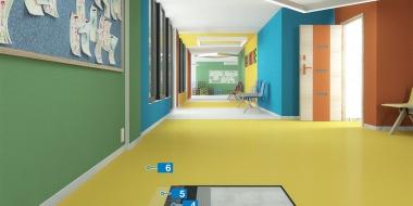 Mapefloor Comfort AR / X: Soļu radītā trokšņa absorbējošs poliuretāna pārklājums ar gumijas paklāju