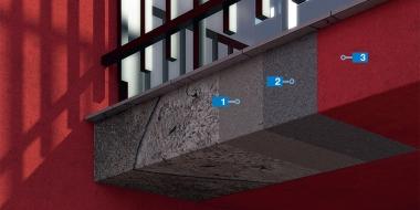 Balkonu fasādes bojājumu novēršanas sistēma